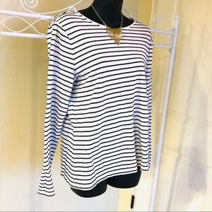 Talbots Silver Black White Striped Long Sleeve Top